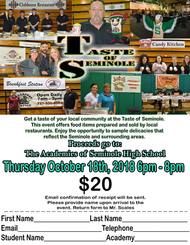 TASTE of SEMINOLE - October 18,2018 6-8   p.m.