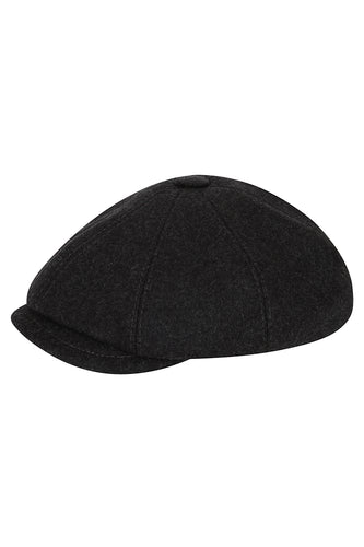 Wool Baker Boy Hat - Charcoal