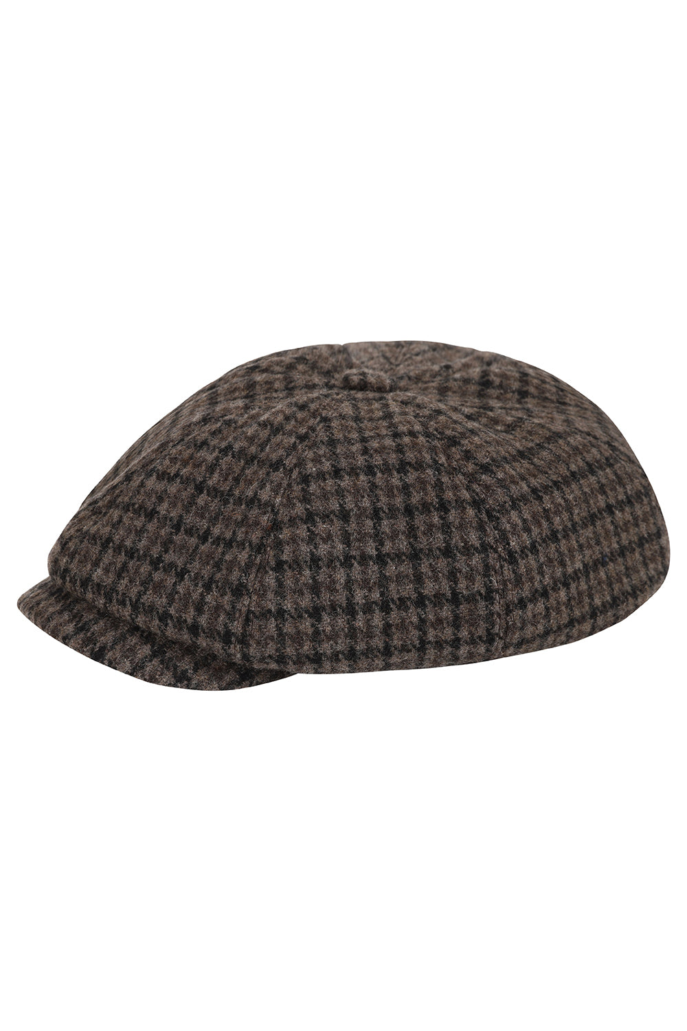 Wide Baker Boy Hat - Brown Houndstooth Wool