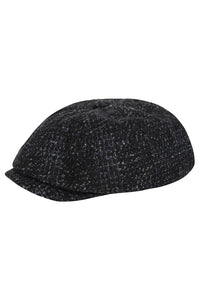 Wide Baker Boy Hat - Black & Blue Wool