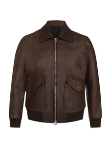 Brown Leather Bomber with Detachable Shearling Collar