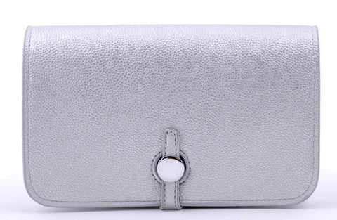 The Elizabeth - silver - pu leather - silver clasp hermes inspired comes with coin purse
