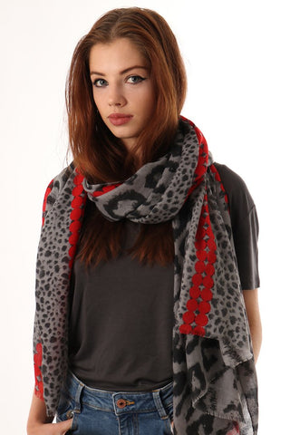 Leopard Print Dot Detail Scarf - grey/black/red - m-use