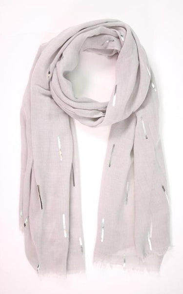 Line Pattern Scarf  - light grey/silver - m-use
