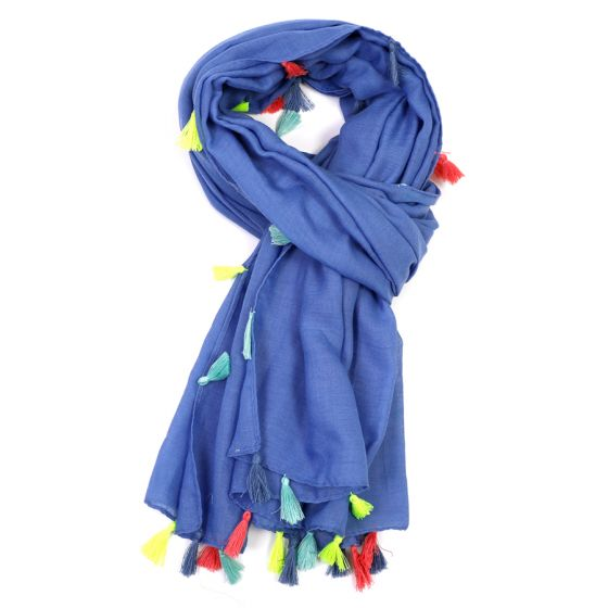 Trimmed Multi-Coloured Tassle Scarf - Blue - m-use