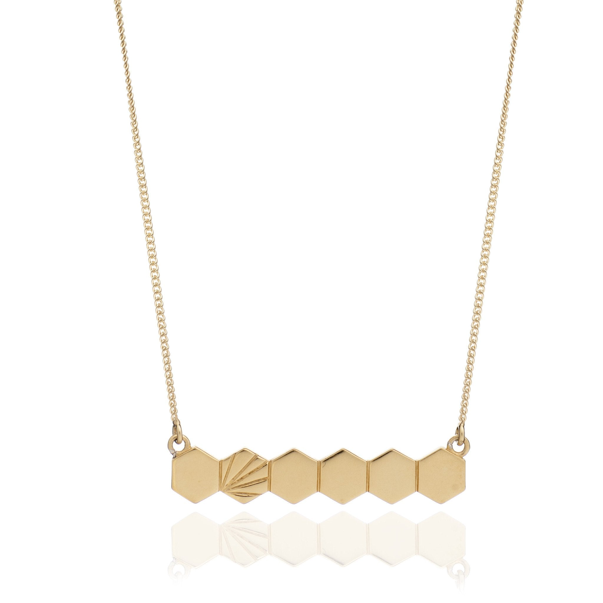 Hexagon Horizontal Bar Pendant - gold - m-use