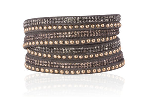 Four Strand Double Wrap Bracelet/Gold - Grey - m-use