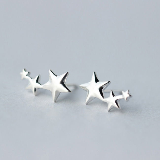 Trio Star Earrings - silver - m-use