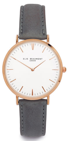 Elie Beaumont Oxford Large - dark grey nappa leather large face - fashion watch