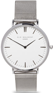 Elie Beaumont Oxford Large Mesh - silver clear dial - fashion watch