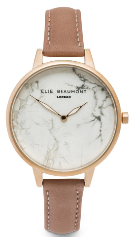 Elie Beaumont Richmond - blush pink nappa leather strap large face - fashion watch - marble effect