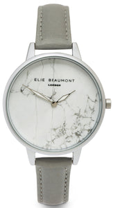 Elie Beaumont Richmond - grey nappa leather strap large face - fashion watch - marble affect