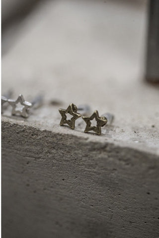Star Stud Earrings - antique gold - m-use