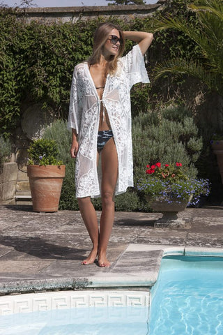 Beach Cover Up - 100% cotton - white - m-use