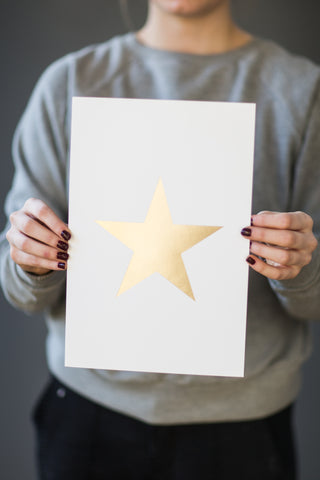 """White and gold Foil Star"" print - small - m-use"