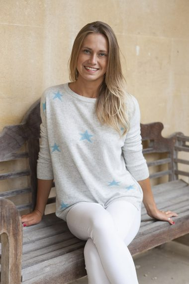 Scattered Star Sweater - light grey/aqua blue - m-use