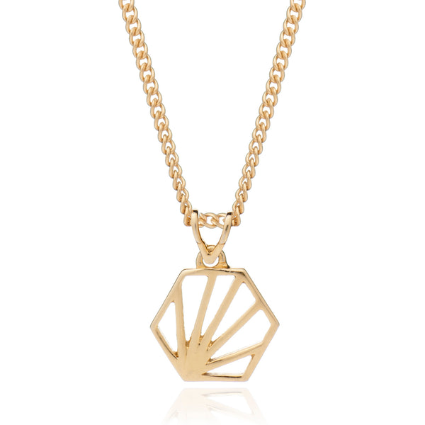 Hexagon Pendant Necklace Small - gold - m-use