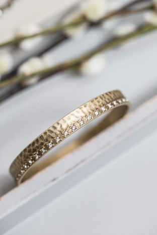 Gold Bangle with Crystal  Edge - m-use