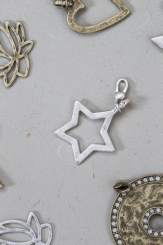 Silver Open Star Charm - small attachable charms
