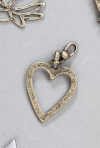 Open Heart charm - antique gold attachable charm