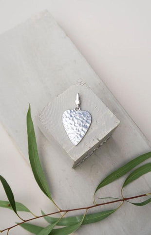 Mia - Small Solid Heart Charm - silver attachable charms