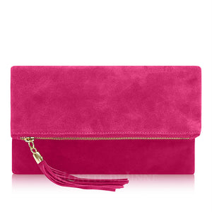 Fold Over Clutch/Shoulder Bag - fuchsia - m-use