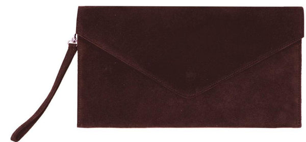 Suede Clutch Bag - burgundy - m-use