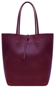 Leather Shopper - berry - m-use