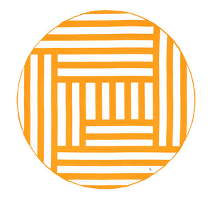 Round Beach Towel/Rug - Maze Pattern - orange - m-use