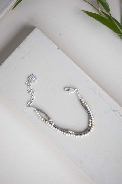 Lila - Two Strand Suede & Bead Bracelet - silver - m-use