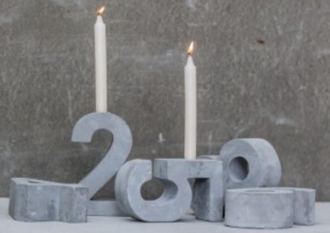 Concrete '5' Candle Holder - m-use