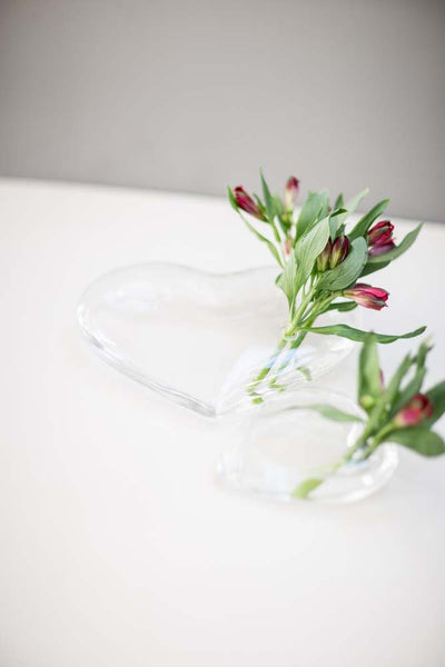 Large Glass Sitting Heart with bunches of flowers