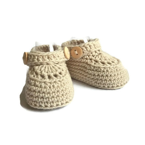 knitted baby loafers with double button strap handmade in beige merino wool by Warm and Woolly