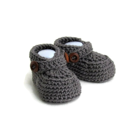 handmade boys knitted loafer baby shoes with double button strap in gray cashmere and merino wool by warm and woolly