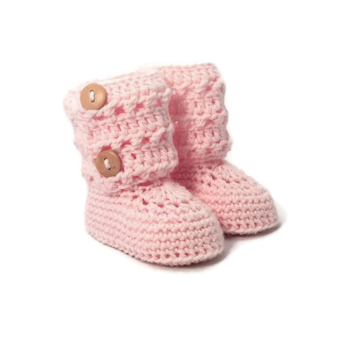 handmade girls tall knitted baby booties with eyelet lace double button cuff in pink merino wool by warm and woolly