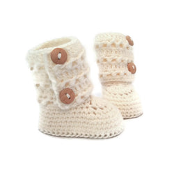 handmade girls tall knitted baby booties with eyelet lace double button cuff in white merino wool by warm and woolly