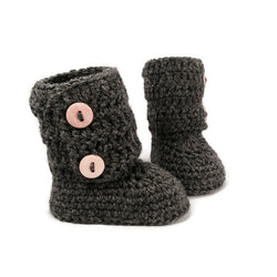 merino wool tall knitted baby booties in ugg style with double wood button cuff in charcoal gray by warm and woolly