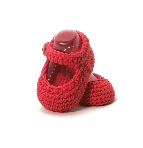 Strawberry Mary Jane Knitted Baby Shoes, Handmade in Merino Wool by Warm and Woolly