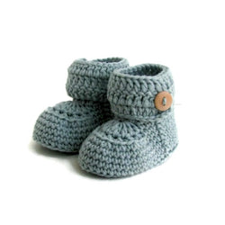 Aqua Short Button Cuff Baby Booties, Hand Knitted in Merino Wool by Warm and Woolly