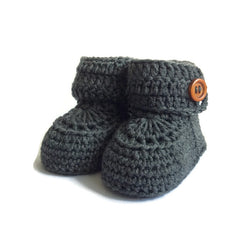 Charcoal Short Button Cuff Baby Booties, Hand Knitted in Merino Wool by Warm and Woolly