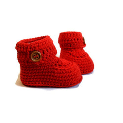 Red Short Button Cuff Baby Booties, Hand Knitted in Merino Wool by Warm and Woolly