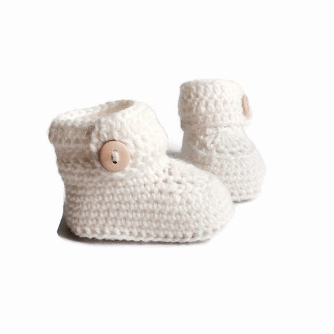White Short Button Cuff Baby Booties, Hand Knitted in Merino Wool by Warm and Woolly