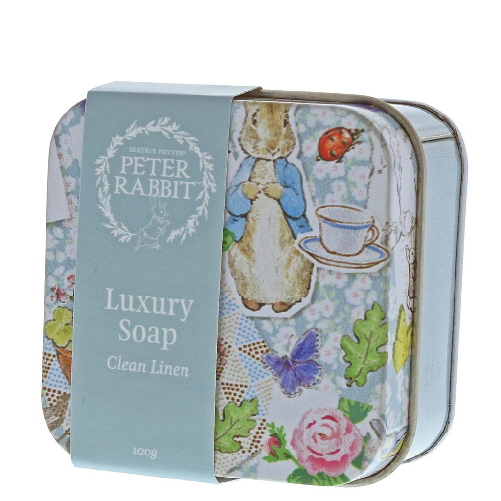 Peter Rabbit Clean Linen Soap in a Tin 100g by Beatrix Potter