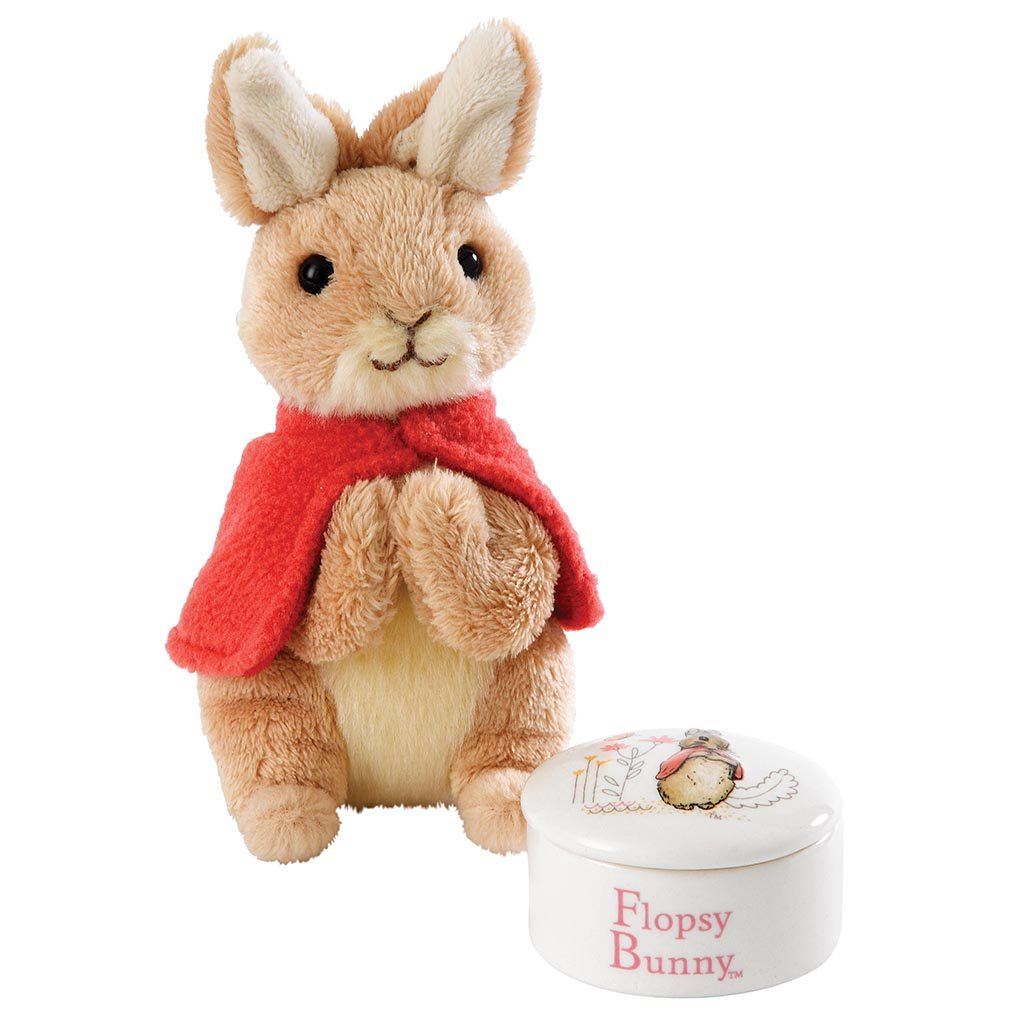 Beatrix Potter Flopsy Trinket Box and Soft Toy Gift Set