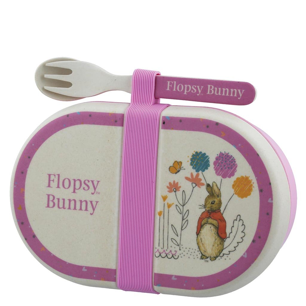 Beatrix Potter Flopsy Bamboo Snack Box with Cutlery Set