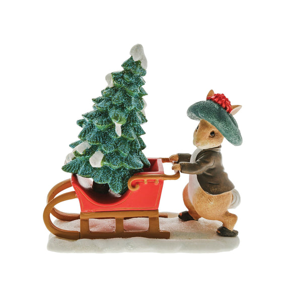 Benjamin Bunny Preparing for Christmas Figurine by Beatrix Potter