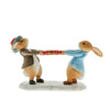 Peter Rabbit and Benjamin Pulling a Cracker Figurine by Beatrix Potter