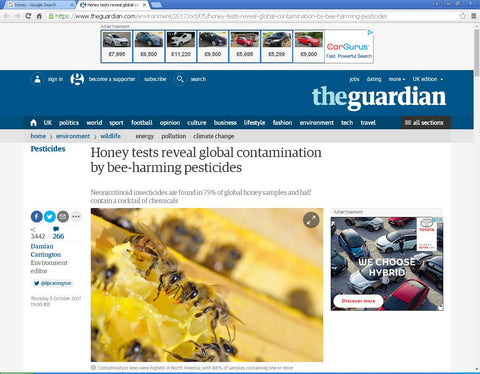 Screenshot from The Guardian article on honey contamination
