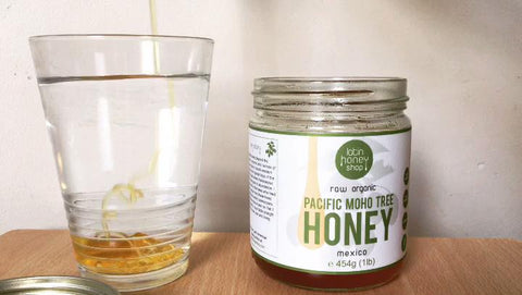 Raw honey water - water with Raw Organic Pacific Moho Tree Honey Latin Honey Shop