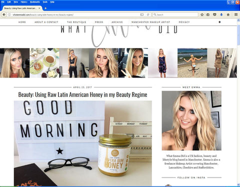 Emma Campbell WhatEmmaDid.com Latin Honey Shop Raw Organic Rivera Gum Honey